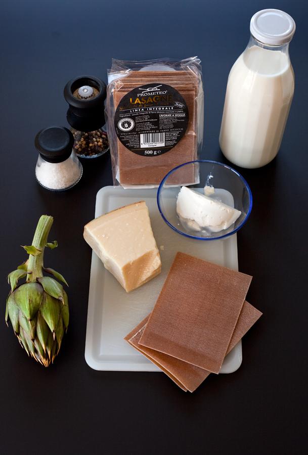 Lasagne con carciofi e crema di ricotta Prometeo Urbino