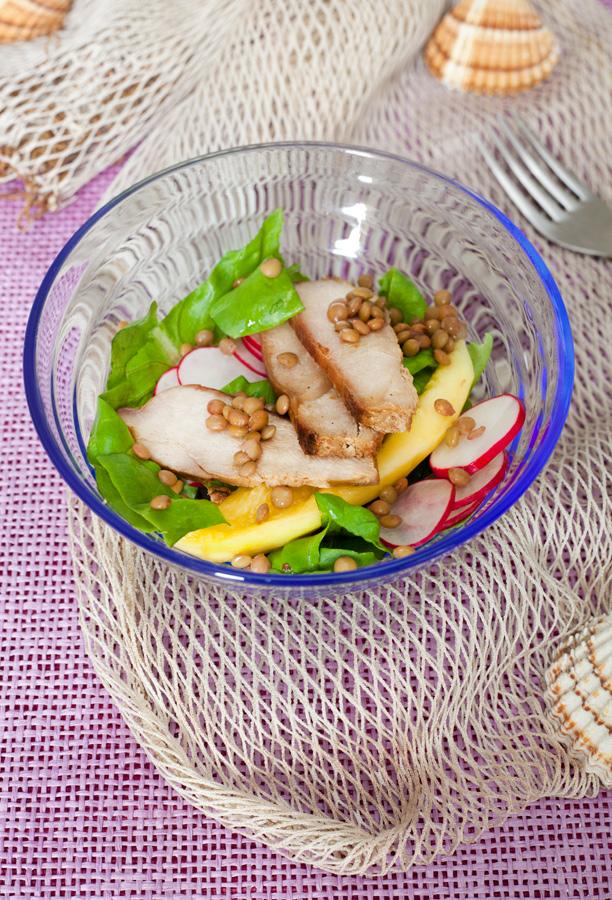 Insalata pollo, mango e lenticchie Prometeo urbino